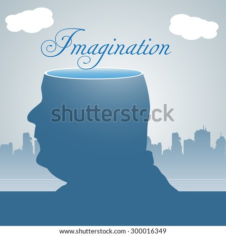 Abstract colorful background with a man with his head sliced off and the word imagination written with handwritten letters above his head - stock vector