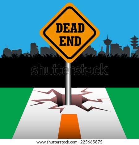 Abstract colorful background with a signpost with the text dead end coming out from a crack at the end of a street