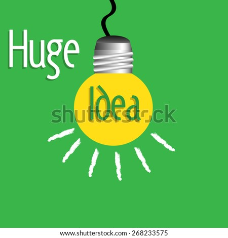 Abstract colorful background with a yellow light bulb hanging and the text huge idea written with white and green letters - stock vector