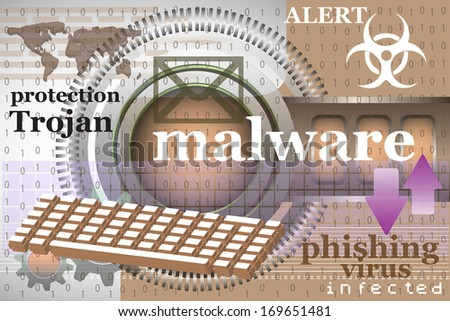 Abstract colorful background with computer keyboard, binary codes and various elements related to the malware concept - stock vector