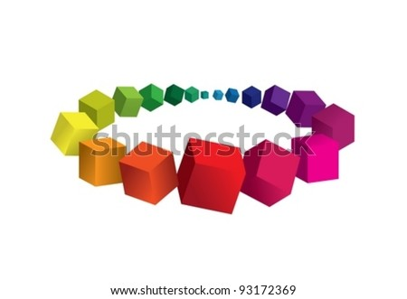 Abstract colorful background with 3d element - stock vector