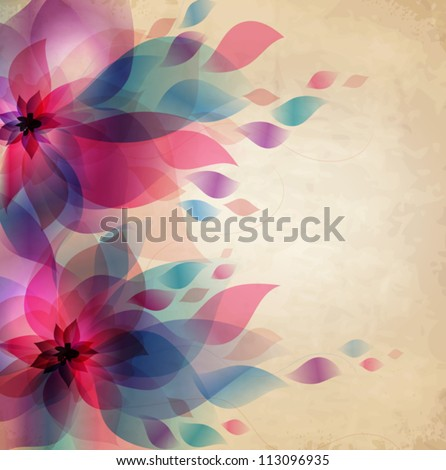 Abstract colorful background with flowers, holiday vintage card - stock vector