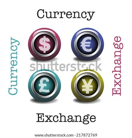 Abstract colorful background with four buttons with the dollar, euro, british pound and the chinese yuan symbols written on each button. Currency exchange concept - stock vector