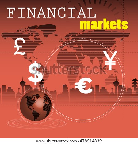 Abstract colorful background with globe, world map and various currency symbols. Financial markets theme