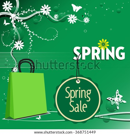 Abstract colorful background with green shopping bag, sale tag, butterflies and flowers. Spring sale concept - stock vector