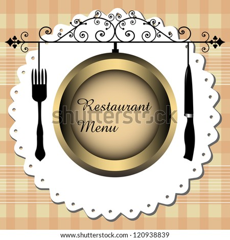 Abstract colorful background with knife, fork and a brown plate on which is written the text restaurant menu - stock vector