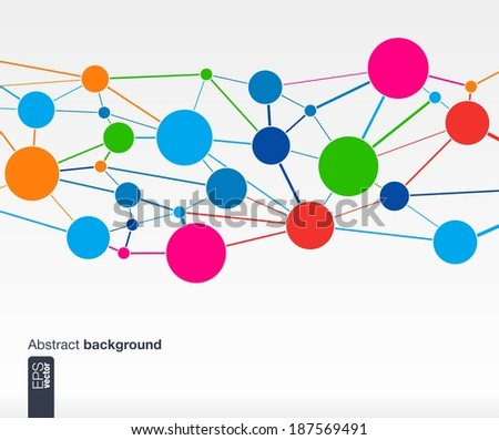 Abstract colorful background with lines and circles. Web, network, computer, connect and technology concepts. Futuristic Vector illustration. - stock vector