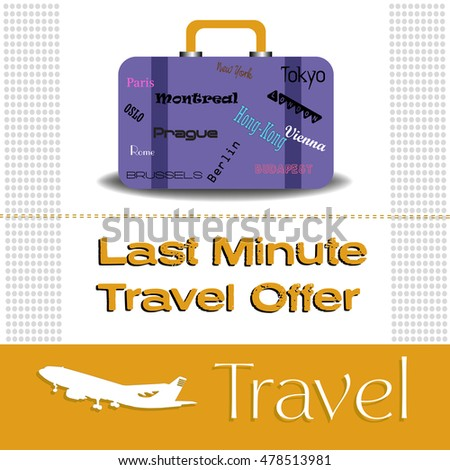 Abstract colorful background with luggage and the text last minute travel offer written under the luggage. Travel theme