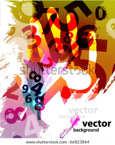 Abstract Colorful Background with numbers - stock vector