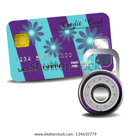 Abstract colorful background with padlock in front of a credit card. Secure payment concept - stock vector