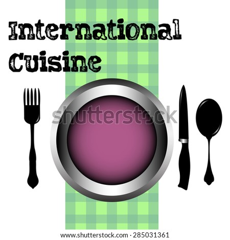 Abstract colorful background with purple plate, fork, spoon, knife and the text International cuisine written with black letters - stock vector