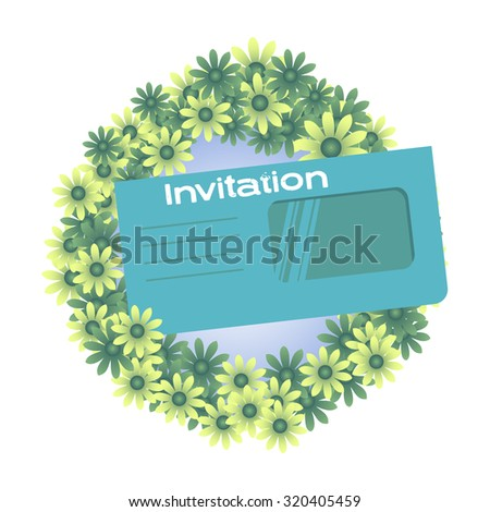 Abstract colorful background with rounded floral frame and blue envelope with the text invitation. Invitation concept - stock vector