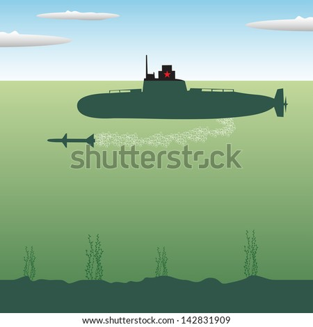 Abstract colorful background with russian submarine launching an underwater torpedo - stock vector