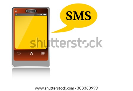 Abstract colorful background with smartphone and the text sms written near the phone. Short Message Service concept - stock vector