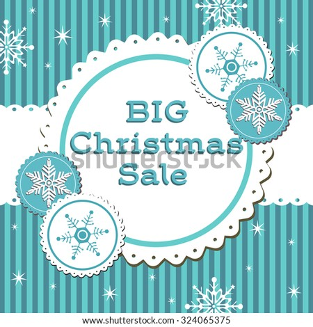 Abstract colorful background with snowflakes, blue stripes and the text big Christmas sale written in blue - stock vector
