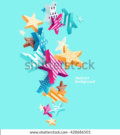 Abstract colorful background with stars  - stock vector