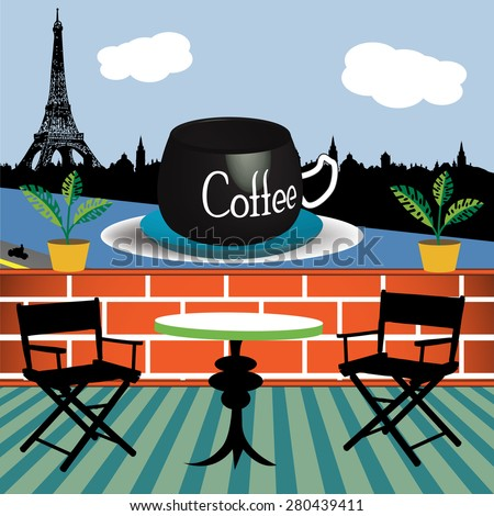 Abstract colorful background with terrace landscape in Paris and a huge coffee cup floating on the Seine river. Coffee theme - stock vector