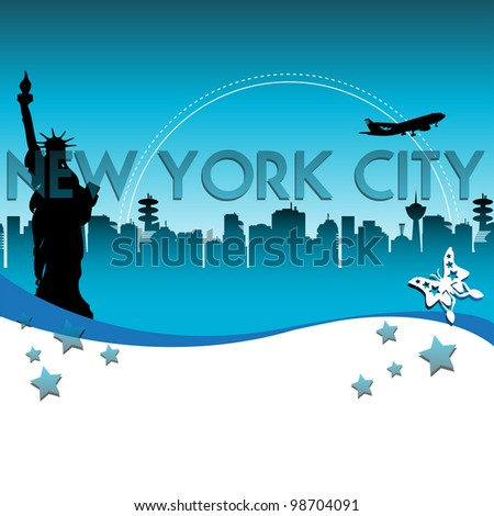 Abstract colorful background with the Statue of Liberty in front of many skyscrapers and the name of New York City written with blue letters - stock vector