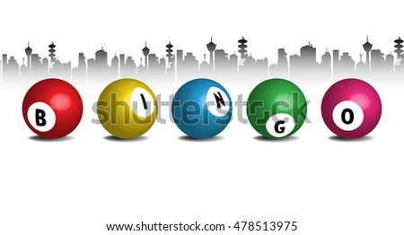 Abstract colorful background with the word bingo written on five balls. Bingo concept
