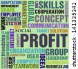 Abstract colorful background with the word profit written with large letters and other profit related words having smaller sizes - stock photo