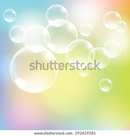 Abstract colorful background with transparent glass balls. Vector illustration. - stock vector