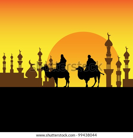 Abstract colorful background with two bedouins approaching a town on their camels
