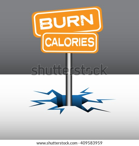 Abstract colorful background with two plates with the text burn calories coming out from an ice crack - stock vector