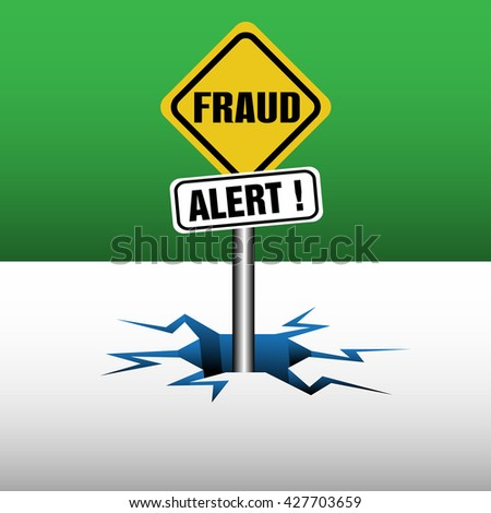 Abstract colorful background with two plates with the text fraud alert coming out from an ice crack - stock vector