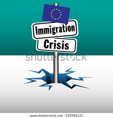 Abstract colorful background with two plates with the text immigration crisis coming out from an ice crack