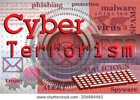 Abstract colorful background with various words and elements related to computers, internet and the text cyber terrorism written with red letters - stock vector