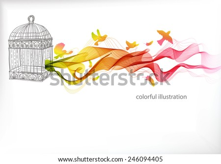 Abstract colorful background with wave and bird cage, illustration - stock vector