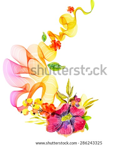 Abstract colorful background with wave and watercolor flowers over white, Vector - stock vector