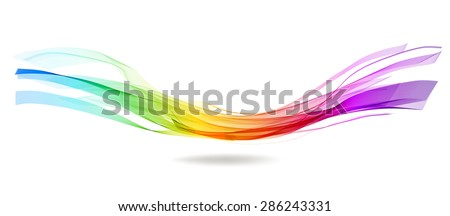 Abstract colorful background with wave over white, Vector - stock vector