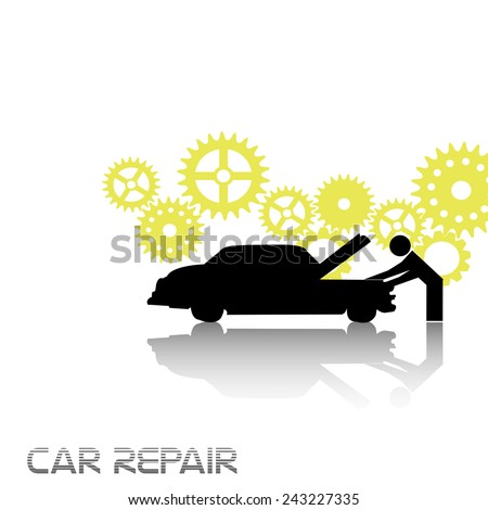 Abstract colorful background with yellow gears and a man fixing a car. Car repair theme - stock vector