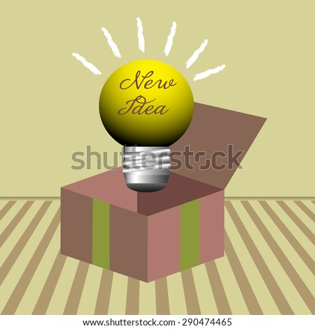 Abstract colorful background with yellow light bulb with the text new idea, coming out from a gift box. Idea concept - stock vector