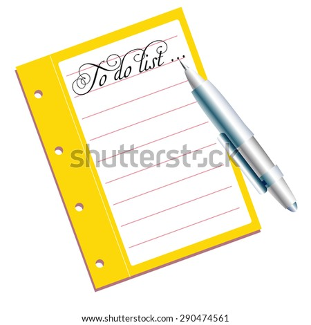 Abstract colorful background with yellow notebook, blue pen and the text to do list written on the upper part of the notebook - stock vector