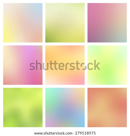 Abstract colorful blurred vector backgrounds.Elements for your website or presentation. Bright illustration. Good as web and mobile interface template. Set, collection of web templates. Smooth colors. - stock vector