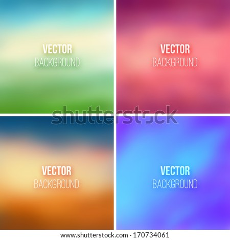 Abstract colorful blurred vector backgrounds set 2 - stock vector