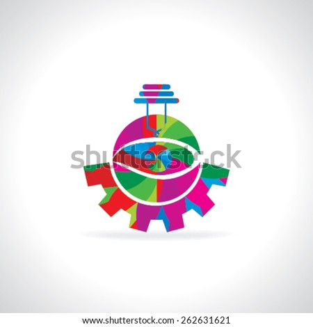 abstract colorful bulb with gear concept  - stock vector