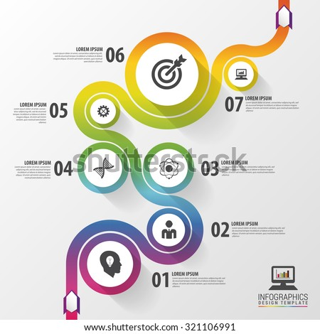 Abstract colorful business path. Timeline infographic template. Vector - stock vector