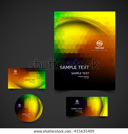 Abstract colorful business stationery - stock vector