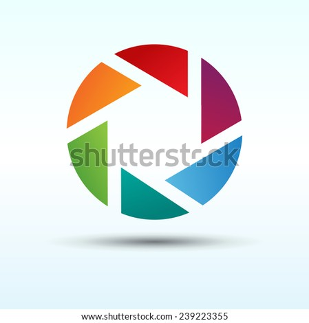 Abstract colorful camera shutter. Vector logo icon.