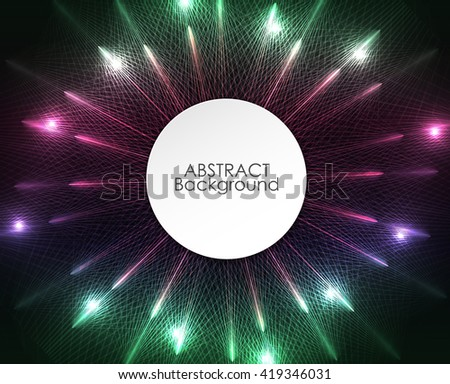 Abstract colorful circle lights pattern technology background.