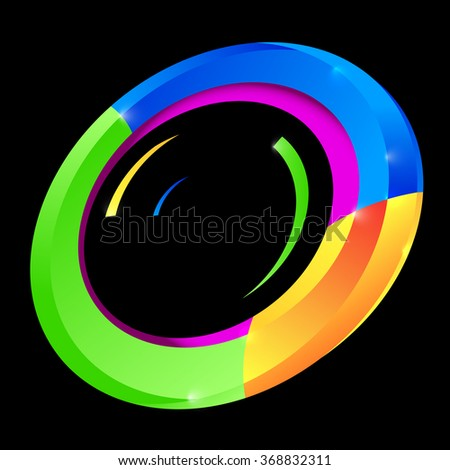 Abstract Colorful Circle Vector Shape on Black Background