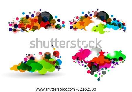 abstract colorful cloud with star design. - stock vector