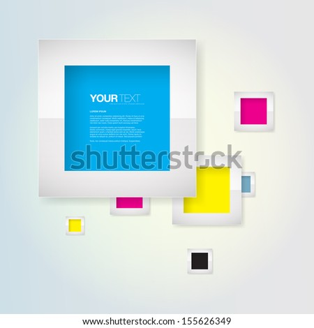 Abstract colorful CMYK text box with metal frame design Eps 10 vector illustration - stock vector