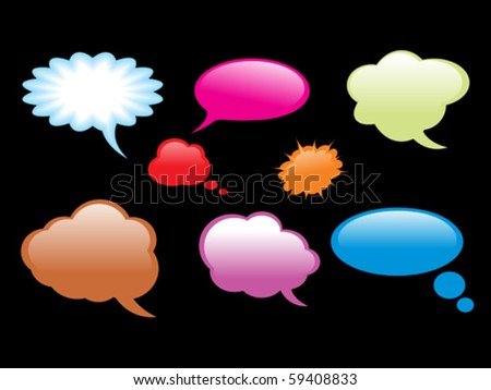 abstract colorful comic callout shapes vector illustration - stock vector