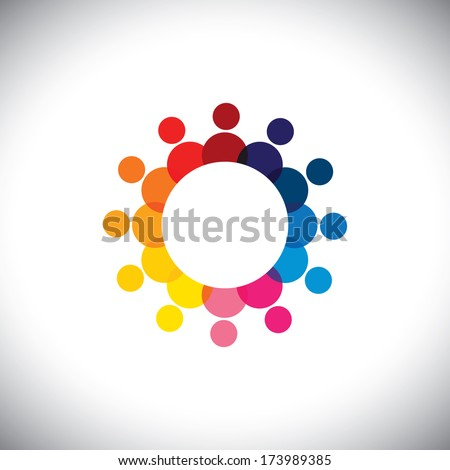 abstract colorful company employees unity & diversity - vector graphic. This graphic also represents students community, employee union, children playing, trust, friendship, staff meetings - stock vector