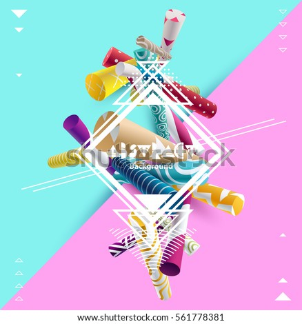 Abstract colorful composition with 3D geometric  elements