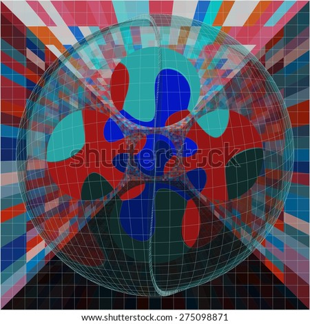 Abstract Colorful Crystal Sphere In Box Puzzle Vector - stock vector